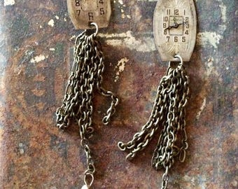 Vintage watch face earrings with long chain tassel