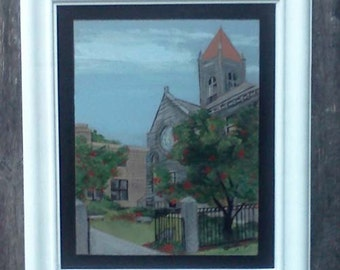 Raised panel portrait,unique portrait,painting of church,handmade white frame,acrylic on wood