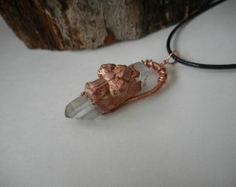 Celtic Cross Necklace, Copper Electroformed Celtic Cross Lemurian Quartz Necklace