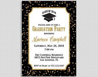 Graduation Party Invitation, Black and Gold Glitter Confetti Invite, Class of 2018, DIY PRINTABLE