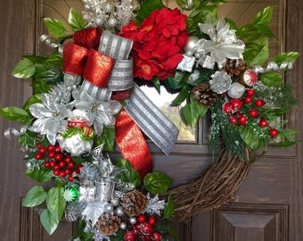 Etsy Red and Silver Front Door Wreath   Etsy Christmas Wreath   Grapevine Wreath   Christmas Decorations   Wreaths on Etsy   Etsy Wreaths