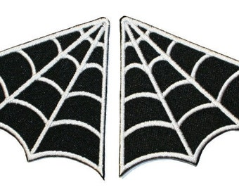 Set of 2 Spider Web Collar Patch Punk Goth Badge Embroidered Iron On Applique