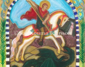 Catholic Art Print - Patron of Soldiers - St. George and the Dragon - Confirmation Gift for Boys - Catholic Gift for Men