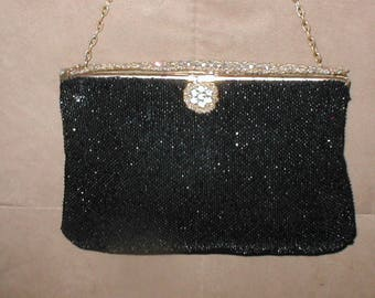 Antique Black Beaded Evening Purse made in France