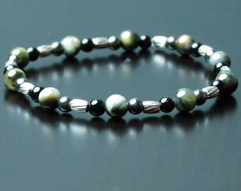 LEO MEN'S POWER Healing Stone Bracelet or Anklet with Hematite, Chrysoberyl and Onyx !