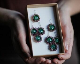 BOHO chandelier earrings Turquoise statement earrings Beaded fringe earrings Statement earrings Evening earrings Swarovski rivoli earrings