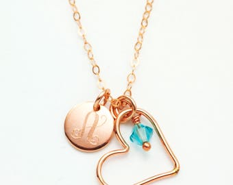 Trio Necklace in 14kt Rose Gold Filled with Birthstone and Personalization