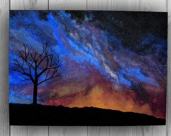 Night Galaxy ACRYLIC Canava painting ,Handmade art, Decor, gift
