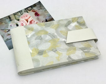 Wedding Mini Photo Album, Ivory Leather and Metallic Leaves, Anniversary Gift, Personalize It