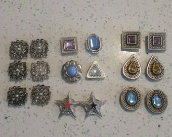 Lot of 18 Vintage 1980's Button Covers, Gemstone Button Covers