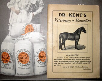 Dr. Kent's Veterinary Remedies Booklet, Horse, Cow Illustrations