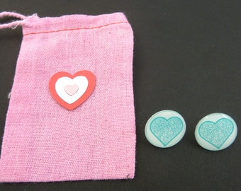 """Blue Heart Earrings. Post or Stud Earrings.  5/8"""" or 16 mm Round.  In Hand Dyed Pink Fabric Decorated Bag."""