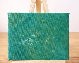"""Abstract Art Acrylic Painting Original   """"Spearmint"""" 7cm x 9cm Canvas With Easel"""