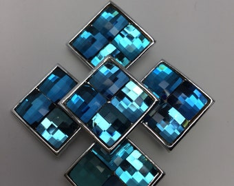 WEISS PRISMATIC Oceanic Blue Cross Brooch