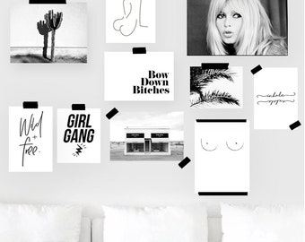 Gallery Wall Printable Set of 10 Prints - Paper Size Version |Black and white Posters Set | Ready-Made Gallery Wall Art | Digital bundle