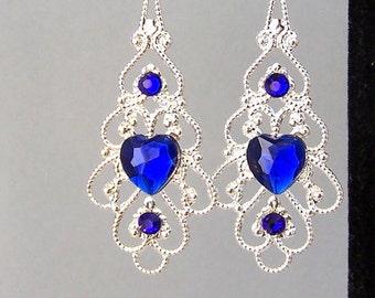 Cobalt blue filigree earrings, blue heart filigree, baroque style, silver and royal blue heart earrings, sapphire hearts, birthday gift
