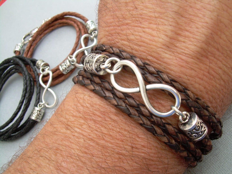 leder infinity armband herren armband frauen armband. Black Bedroom Furniture Sets. Home Design Ideas