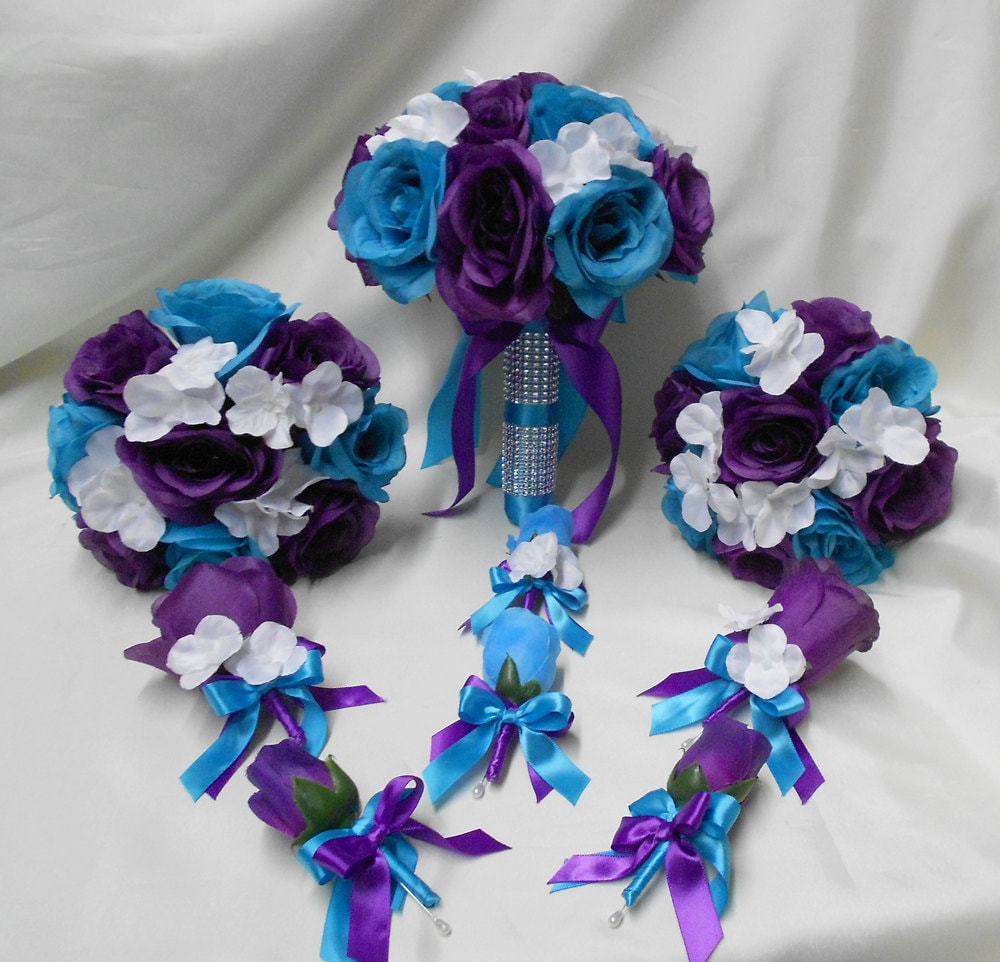 Wedding Silk Flower Bridal Bouquets Package Purple Turquoise