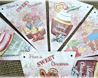 Gingerbread and Cupcakes 'Have a Sweet Christmas' Bunting/Banner & Ribbon - 2.5m