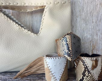 Leather Clutch Bag in Ivory - Handmade - Laced - Simple - Unlined - Handbag - Rustic - by Stacy Leigh