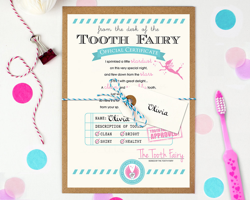 tooth fairy letters tooth letter tooth certificate baby milestone 25303 | il fullxfull.989588052 j71y