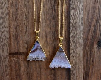 Triangle Amethyst Stalactite Stone Necklace/ Gold Necklace/ Layering Natural Amethyst Stalactite Mineral/ Crystal Necklace  (EPJ-NCA10)