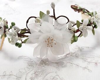 bridal hair vine, bridal hair piece, wedding headpiece, ivory hair comb, bridal hair accessories, ivory hair flower, bridal hair flower