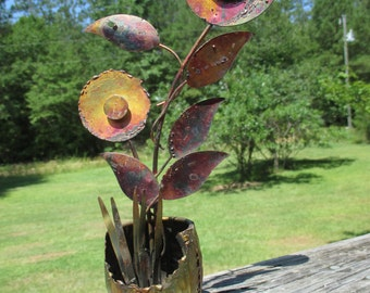 Vintage Metal Art Flower Brutalist Sculpture--Mid Century Decor--Jere' Style Tabletop Centerpiece