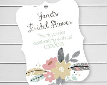 Thank You For Celebrating With Us Floral Favor Tags, Custom Favor Tags, Thank You Custom Wedding Hang Tags (EC-472)
