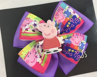 Peppa Pig birthday bow | Peppa Pig hair bow, Peppa Pig birthday party, Peppa Pig bow headband, Pig hair bow for girl