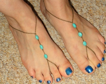 Bronze turquoise barefoot sandals, Turquoise barefoot sandals, Ankle slave foot, Barefoot sandals UK,  Bare foot sandals