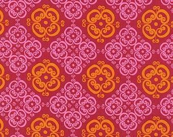 SALE  Mystic Hot Pink and Orange Cotton Fabric - Robert Kaufman Fabrics - 1 Yard