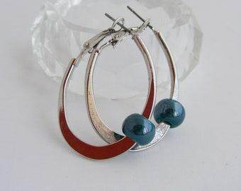 earring silver/blue pearl - oval hoop earrings / minimalist earrings - Silver/Blue