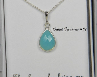 Turquoise Blue / Silver Bridesmaids Teardrop Necklace, Personalized Note, Turquoise Bridesmaid Gift, Sky Blue Bridesmaids Necklace - TD