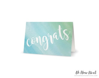 Watercolor Wedding Congratulations Card | Blue Green Turquoise Aqua Teal Cursive Boho Greeting Card | Congrats Folded 5x7 Card with Envelope