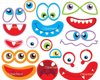 INSTANT Download. Monsters clip art. Eyes and mouths clip art. Cm_36. Personal and commercial use.
