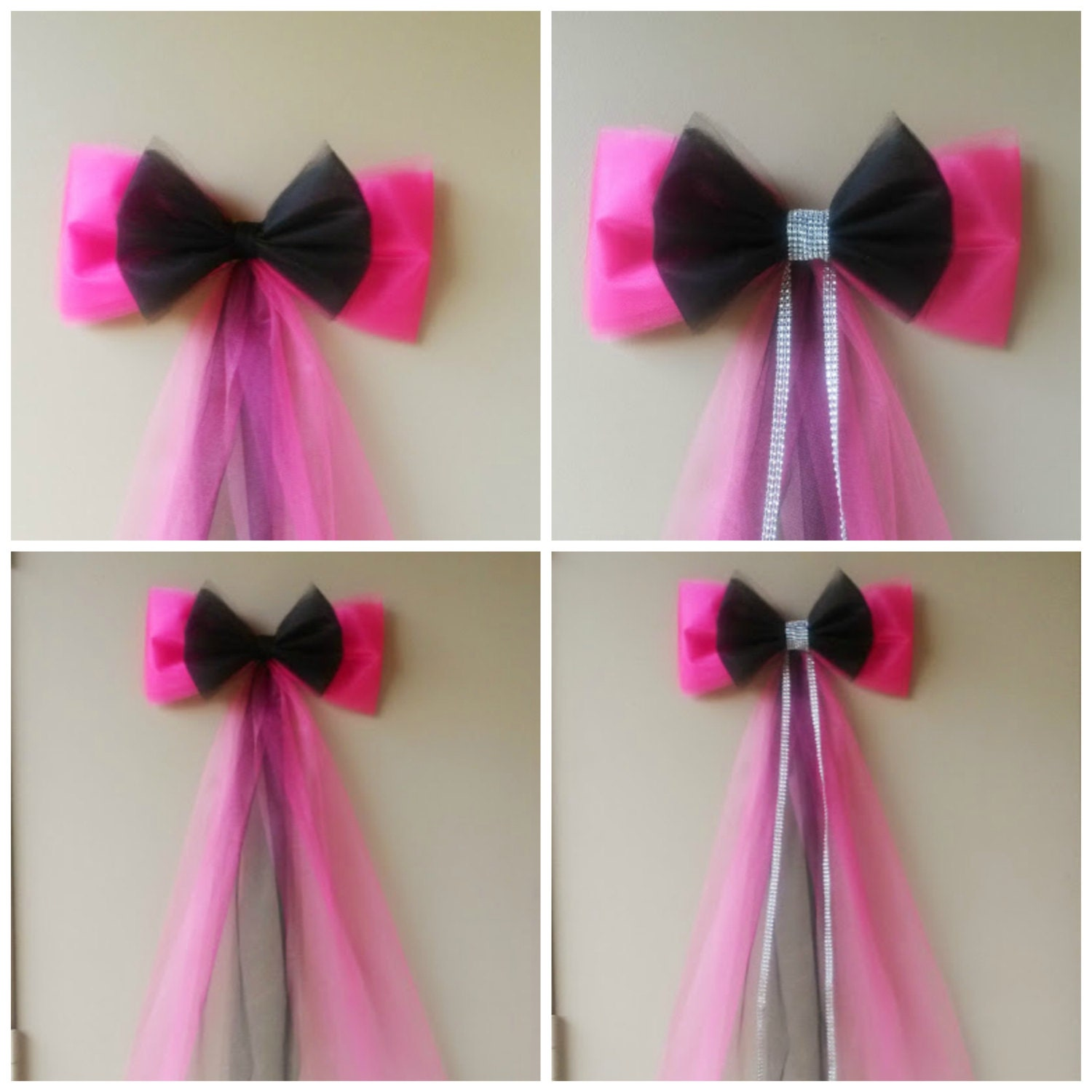 Pink and Black Birthday Party Decoration Sweet 16 Bow