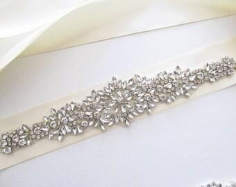 Crystal Beaded Bridal Sash / Rhinestone Bridal Sash /  Rhinestone Beaded Ribbon Sash