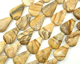 Picture Jasper Beads, 16x24mm Flat Teardrop Beads, 15 Inch, Full strand, Approx 16 beads, Hole 1 mm (345143001)