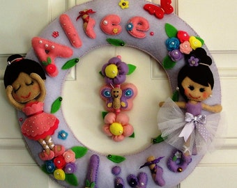 Personalized felt handmade wall hanging - Ballerinas