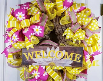 Welcome Wreath, Spring Wreath, Summer Wreath for Front Door, Daisy Wreath, Mothers Day Gift, Everyday Wreath, Year Round Decor