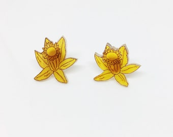 Spring Earrings Floral Blooms Daffodil Flowers Plant Jewelry Yellow Buttercup Botanical Garden Nature Lover Mother's Day Gift For Gardener