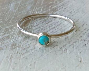 Genuine Turquoise Stacker Ring, Stacking Ring, Silver Ring, Turquoise, Stacker, Rustic Boho, Hammered Ring, Boho Chic, Serrated Bezel