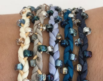 DIY Silk Wrap Bracelet or Silk Cord Kit DIY Bracelet DIY Craft Kit You Make Five Adult Friendship Bracelets in Seed Pod in Decay Palette