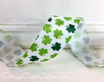 "St. Patrick's Wired Ribbon, 1 1/2"", Green Shamrocks on White Satin - FOUR & 7/8 YARDS - Offray ""Shamrocks""#70260 Clover Wire Edged Ribbon"