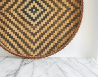 Vintage Woven Tray - Rattan Patterned Tray - Diamond Pattern Tray - Woven Basket - Boho Decor