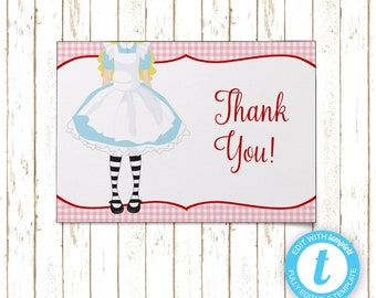 Alice in Wonderland Thank You Cards | Printable PDF or JPEG | Templett | KBI646TY