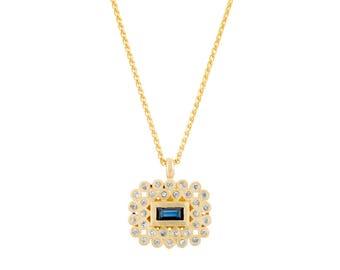 18k Gold Sapphire Pendant , Blue Sapphire Square Pendant, Multi Stones Pendant, Dainty Baguette Sapphire, Blue Birthstone Pendant