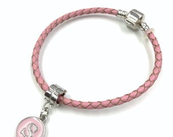 Pink Geniune Braided Leather Bracelet with Pink Enamel Initial Charm You Pink