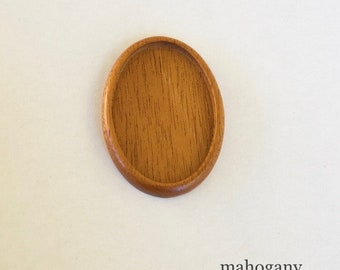 Large LIGHT bezel setting fine finished hardwood - Mahogany - 34 x 52 mm cavity - (A603c)